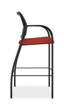 HON Ignition Cafe-Height Stool Mesh Back Centurion Poppy Color Fixed Arms Side View HICS7.F.E.M.CU42.T