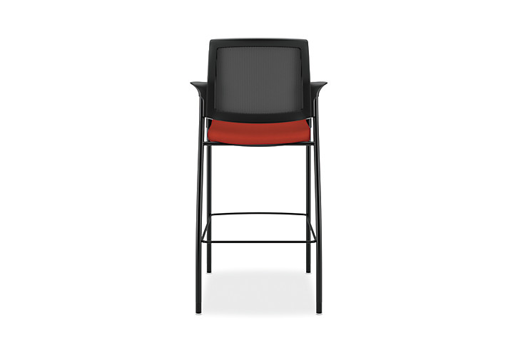 HON Ignition Cafe-Height Stool Mesh Back Centurion Poppy Color Fixed Arms Back View HICS7.F.E.M.CU42.T