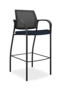HON Ignition Cafe-Height Stool Mesh Back Tectonic Mariner Color Fixed Arms Front View HICS7.F.E.M.NT90.T