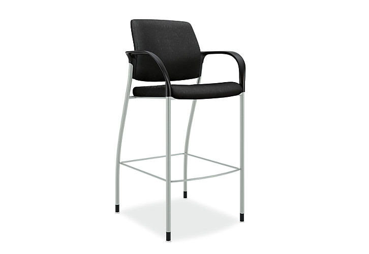 HON Ignition Cafe-Height Stool Upholstered Back Tectonic Black Color Fixed Arms Platinum Color Frame Front View HICS7.F.E.U.NT10.PLAT