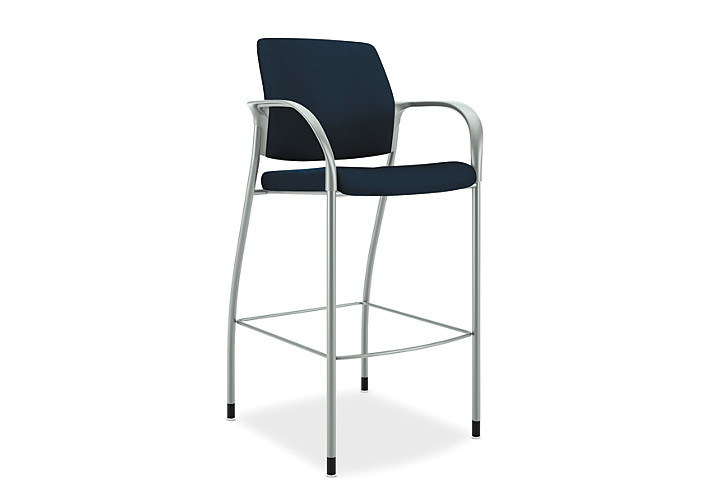 HON Ignition Cafe-Height Stool Upholstered Back Tectonic Mariner Color Fixed Arms Platinum Color Frame Front View HICS7.F.E.U.NT90.PLAT