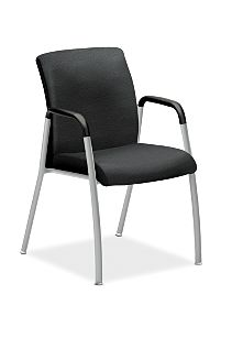 HON Ignition Guest Chair Upholstered Back Tectonic Black Fixed Arms Platinum Frame Front View HIGCL.E.U.NT10.PLAT