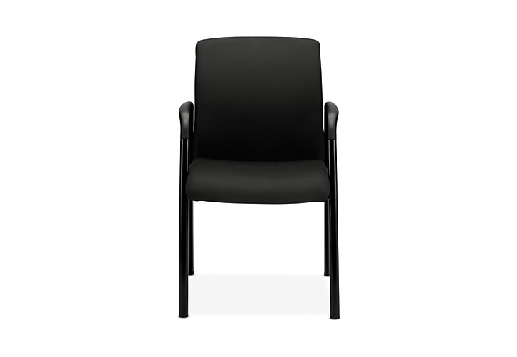 HON Ignition Guest Chair Upholstered Back Tectonic Black Fixed Arms Front View HIGCL.E.U.NT10.T