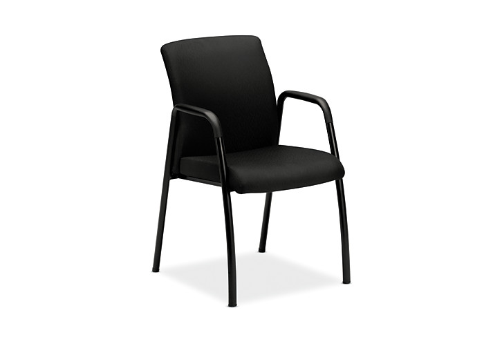HON Ignition Guest Chair Upholstered Back Tectonic Black Fixed Arms Front Side View HIGCL.E.U.NT10.T