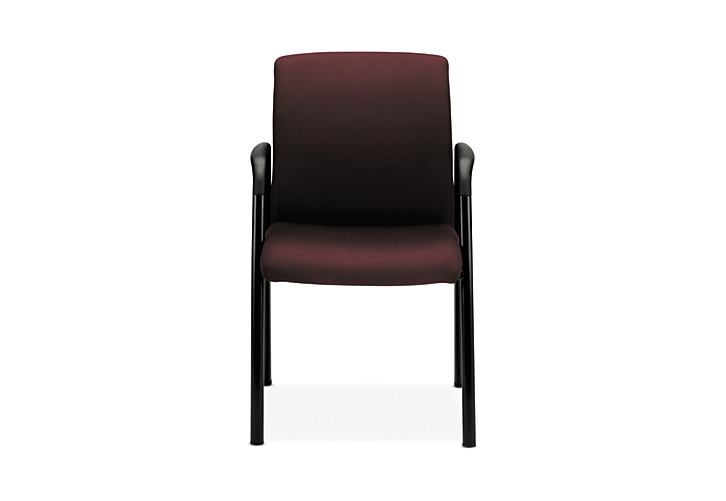 HON Ignition Guest Chair Upholstered Back Tectonic Wine Fixed Arms Front Side View HIGCL.E.U.NT69.T