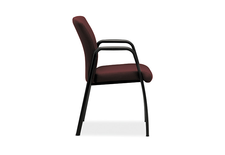 HON Ignition Guest Chair Upholstered Back Tectonic Wine Fixed Arms Side View HIGCL.E.U.NT69.T