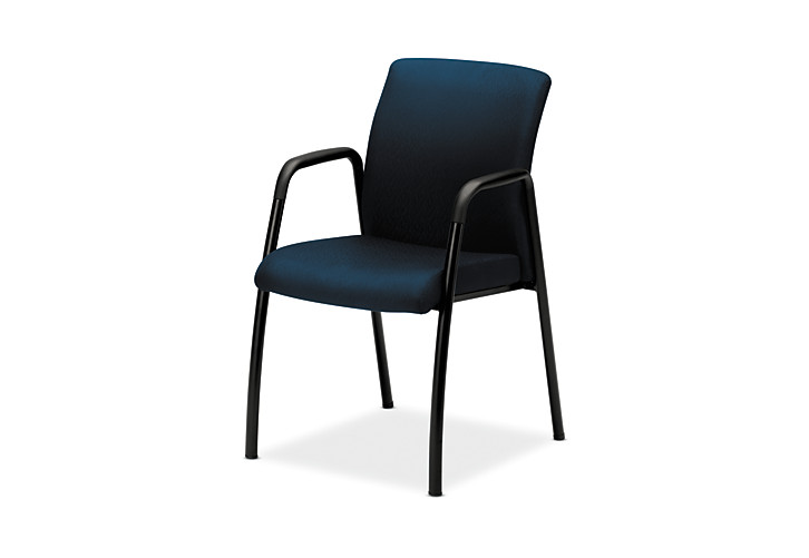 HON Ignition Guest Chair Upholstered Back Tectonic Mariner Fixed Arms Front Side View HIGCL.E.U.NT90.T