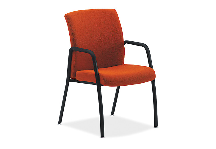 HON Ignition Guest Chair Upholstered Back Orange Fixed Arms Front Side View HIGCL.E.U.OM67.T