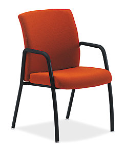 HON Ignition Guest Chair Upholstered Back Orange Fixed Arms Front Side View  HIGCL.E.U.OM67