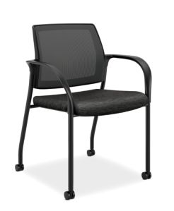 HON Ignition Multi-Purpose Stacking Chair Mesh Back Attire Onyx Color Fixed Arms Front Side View HIGS6.F.A.M.AI10.T
