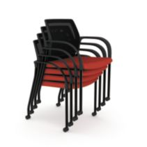 HON Ignition Multi-Purpose Stacking Chairs Mesh Back Centurion Poppy Color Fixed Arms Front Side View HIGS6.F.A.M.CU42.T
