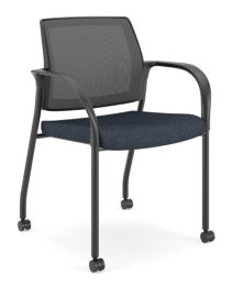 HON Ignition Multi-Purpose Stacking Chair Mesh Back Tectonic Mariner Color Fixed Arms Front Side View HIGS6.F.A.M.NT90.T