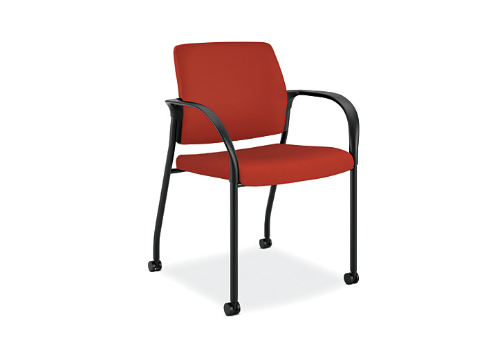 HON Ignition Multi-Purpose Stacking Chair Mesh Back Centurion Poppy Color Fixed Arms Front Side View HIGS6.F.A.M.CU42.T