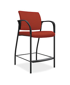 HON Ignition Hip Chair Upholstered Back Centurion Poppy Color Fixed Arms Front Side View HIHC.F.E.U.CU42.T