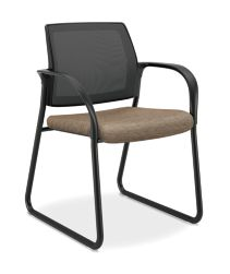 HON Ignition Sled Base Guest Chair Mesh Back Attire Taupe Color Fixed Arms Front Side View HISB6.F.E.M.AI26.T
