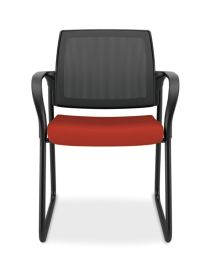 HON Ignition Sled Base Guest Chair Mesh Back Centurion Poppy Color Fixed Arms Front View HISB6.F.E.M.CU42.T