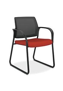 HON Ignition Sled Base Guest Chair Mesh Back Centurion Poppy Color Fixed Arms Front Side View HISB6.F.E.M.CU42.T