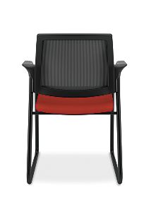 HON Ignition Sled Base Guest Chair Mesh Back Centurion Poppy Color Fixed Arms Back View HISB6.F.E.M.CU42.T