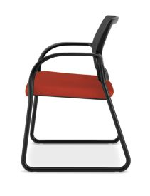 HON Ignition Sled Base Guest Chair Mesh Back Centurion Poppy Color Fixed Arms Side View HISB6.F.E.M.CU42.T