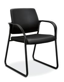 HON Ignition Sled Base Guest Chair Upholstered Back Black Leather Fixed Arms Front Side View HISB6.F.E.U.SS11.T