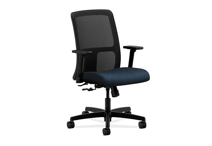 HON Ignition Low-Back Task Chair Mesh Back Confetti Blue Color Adjustable Arms Front Side View HITL1.A.H.M.AB90.T.SB