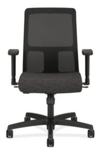 HON Ignition Low-Back Task Chair Mesh Back Attire Onyx Color Adjustable Arms Front View HITL1.A.H.M.AI10.T.SB