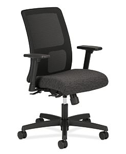 HON Ignition Low-Back Task Chair Mesh Back Attire Onyx Color Adjustable Arms Front Side View HITL1.A.H.M.AI10.T.SB
