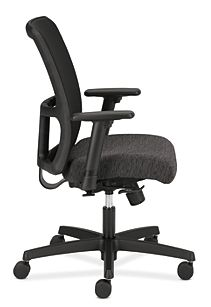 HON Ignition Low-Back Task Chair Mesh Back Attire Onyx Color Adjustable Arms Side View HITL1.A.H.M.AI10.T.SB