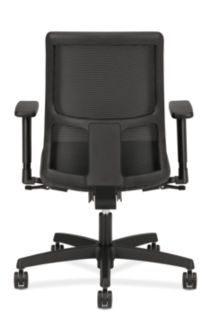 HON Ignition Low-Back Task Chair Mesh Back Attire Onyx Color Adjustable Arms Back View HITL1.A.H.M.AI10.T.SB