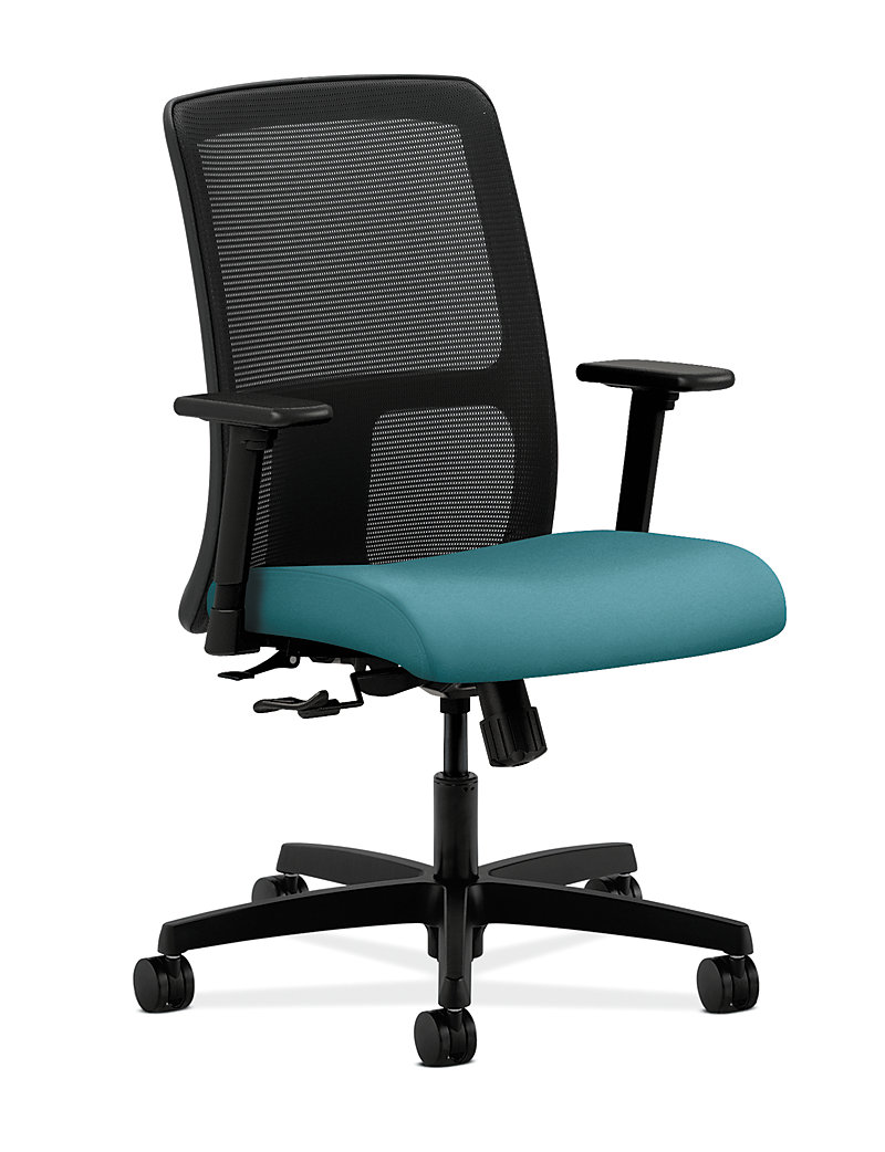 HON Ignition Low Back Task Chair Mesh Centurion Glacier Adjustable Arms Front Side View