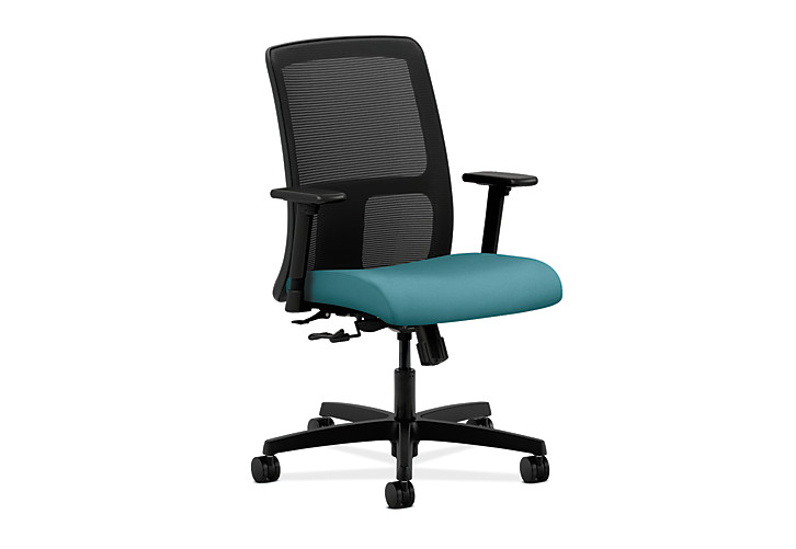 HON Ignition Low-Back Task Chair Mesh Back Centurion Glacier Adjustable Arms Front Side View HITL1.A.H.M.CU96.T.SB