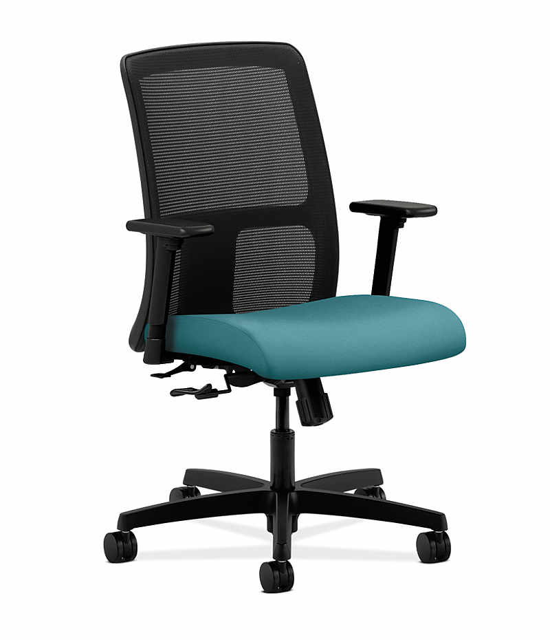 HON Ignition Low Back Task Chair Mesh Back Centurion Glacier Adjustable  Arms Front Side View