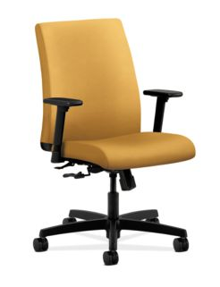 HON Ignition Low-Back Task Chair Upholstered Back Inertia Mustard Color Adjustable Arms Front Side View HITL1.A.H.U.NR26.T.SB