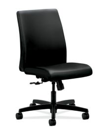 HON Ignition Low-Back Task Chair Upholstered Back Black Leather Armless Front Side View HITL1.N.H.U.SS11.T.SB