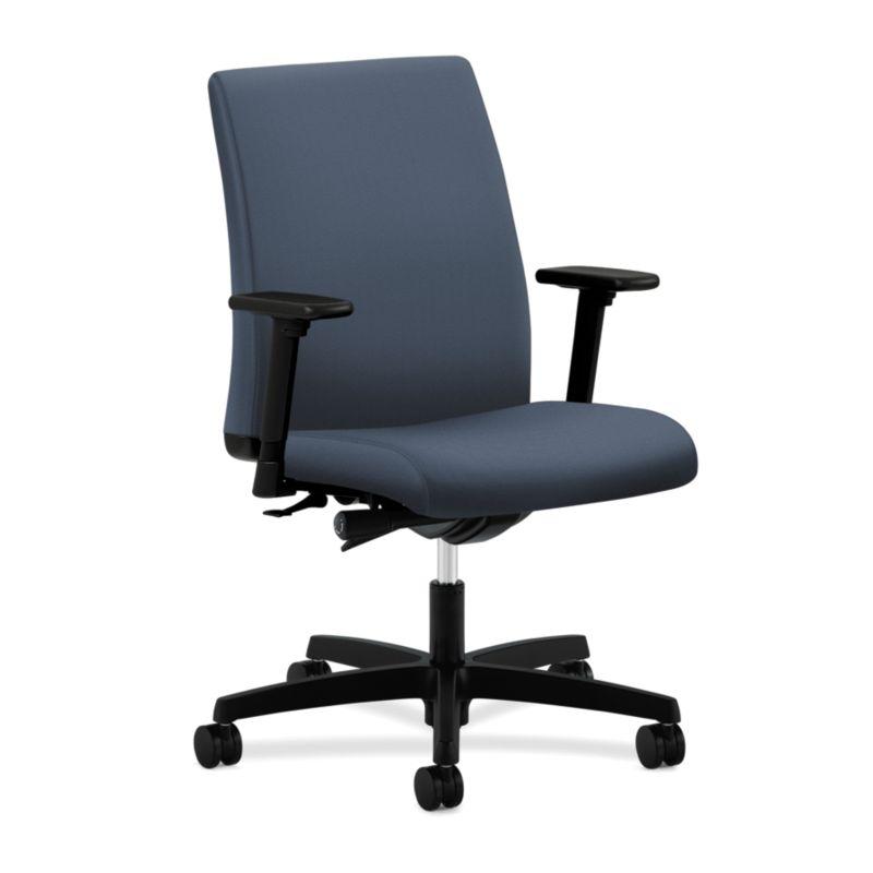 HON Ignition Low-Back Task Chair Upholstered Back Dark Blue Color Adjustable Arms Front Side View HITL2.A.H.U.NR88.T