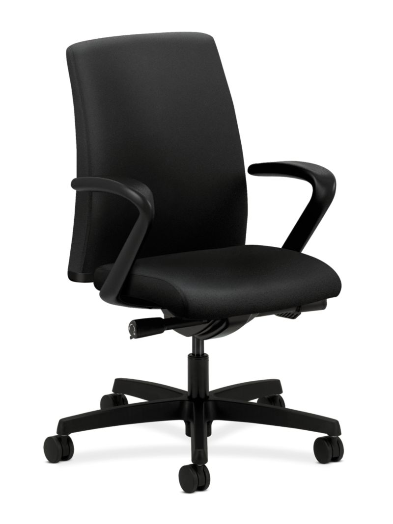 HON Ignition Low-Back Task Chair Upholstered Back Centurion Black Color Fixed Arms Front Side View HITL2.F.H.U.CU10.T.SB