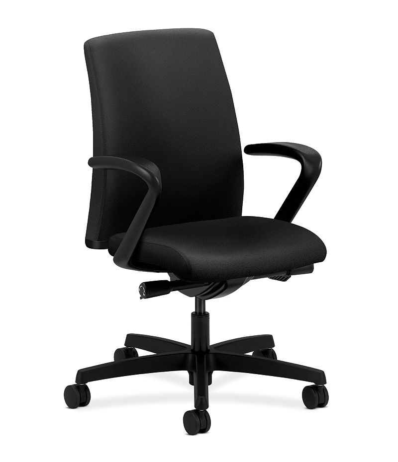 HON Ignition Low-Back Task Chair Upholstered Back Centurion Black Color Fixed Arms Front Side View HITL2.F.H.U.CU10.T.SB