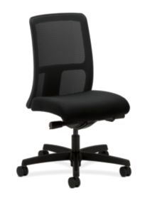 HON Ignition Low-Back Task Chair Mesh Back Centurion Black Color Armless Front Side View HITL2.N.H.M.AB10.T.SB
