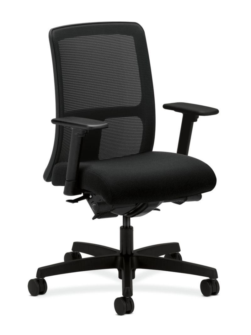 HON Ignition Low-Back Task Chair Mesh Back Centurion Black Color Adjustable Arms Front Side View HITL3.A.H.M.CU10.T.SB