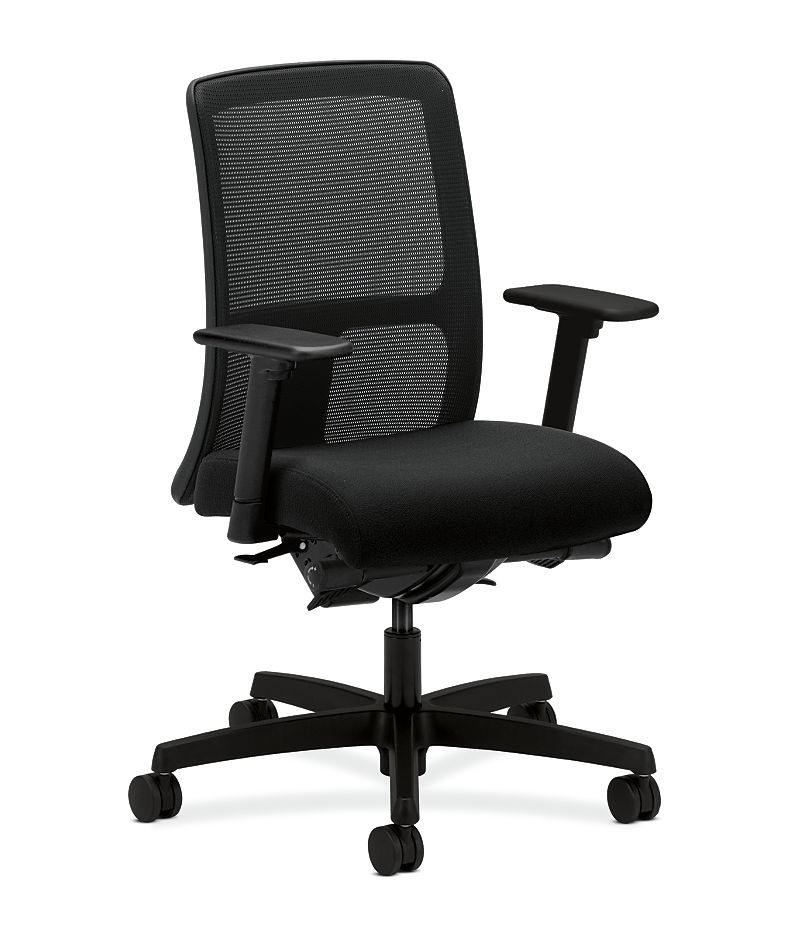 HON Ignition Low-Back Task Chair Mesh Back Centurion Black Color Adjustable Arms Front Side View HITL3.A.H.M.CU10.T.SB