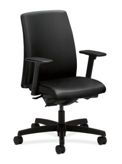 HON Ignition Low-Back Task Chair Upholstered Back Black Leather Adjustable Arms Front Side View HITL3.A.H.U.SS11.T.SB