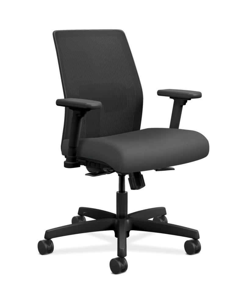 HON Ignition Low-Back Task Chair Mesh Back Centurion Iron Ore Color Adjustable Arms Front Side View HITLM.Y1.A.H.IM.CU19.AL.SB.T