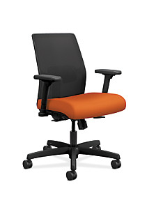 HON Ignition Low Back Task Chair Mesh Centurion Tangerine Color Adjustable Arms Front Side
