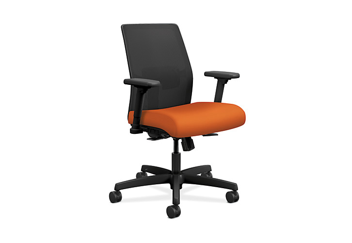 HON Ignition Low-Back Task Chair Mesh Back Centurion Tangerine Color Adjustable Arms Front Side View HITLM.Y1.A.H.IM.CU46.AL.SB.T