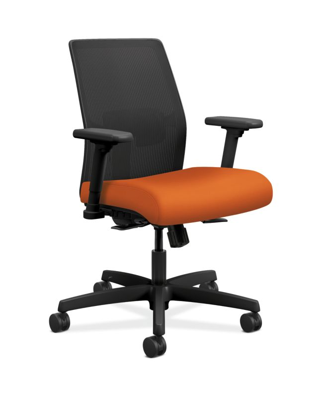 Incroyable HON Ignition Low Back Task Chair Mesh Back Centurion Tangerine Color  Adjustable Arms Front Side