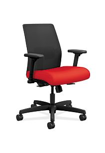 HON Ignition Low-Back Task Chair Mesh Back Centurion Ruby Color Adjustable Arms Front Side View HITLM.Y1.A.H.IM.CU67.AL.SB.T