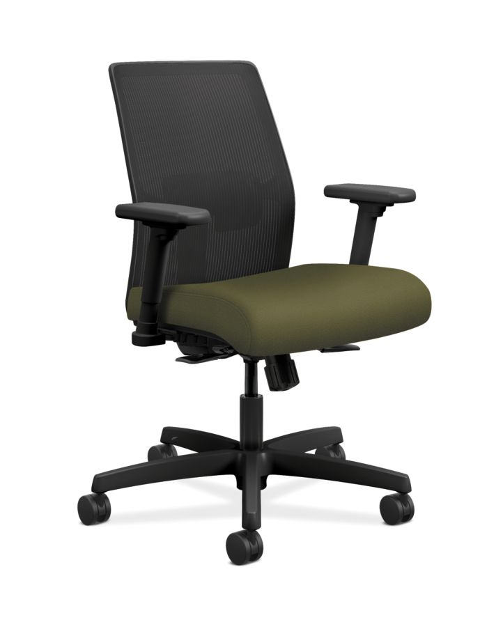 HON Ignition Low-Back Task Chair Mesh Back Centurion Olivine Color Adjustable Arms Front Side View HITLM.Y1.A.H.IM.CU82.AL.SB.T