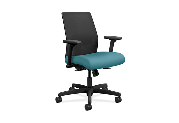 HON Ignition Low-Back Task Chair Mesh Back Centurion Glacier Color Adjustable Arms Front Side View HITLM.Y1.A.H.IM.CU96.AL.SB.T