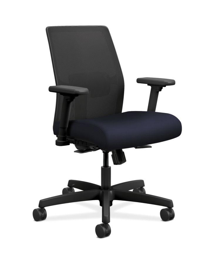 HON Ignition Low-Back Task Chair Mesh Back Centurion Navy Color Adjustable Arms Front Side View HITLM.Y1.A.H.IM.CU98.AL.SB.T