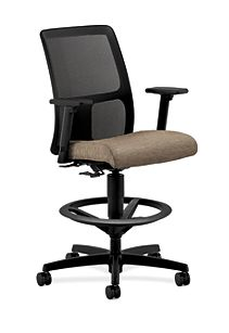 HON Ignition Low-Back Task Stool Mesh Back Attire Taupe Adjustable Arms Front Side View HITS5.A.H.M.AI26.T.SB